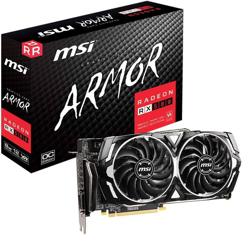 MSI Gaming Radeon Rx 580 256-bit 8GB GDRR5 HDMI/DP DirectX 12 VR Ready Dual Fan Crossfire Freesync Graphics Card (RX 580 Armor X)