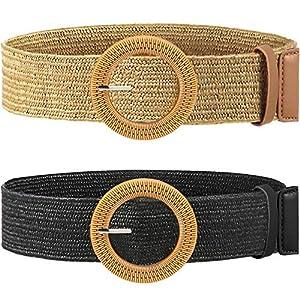 Cinturón elástico trenzado de paja con hebilla de estilo madera para mujer, 2 unidades | DeHippies.com
