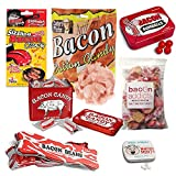 Extreme Bacon Candy Sampler Gift Pack (7pc Set) - Bacon Mints, Jelly Beans, Gumballs, Salt Water Taffy, Sizzling Candy, Cotton Candy & Hard Candies