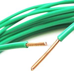 PHAT SATELLITE INTL - Pure Solid Bare Copper Grounding Wire, 10 AWG Core (#10 Gauge), THHN PVC Jacket, Made in USA, Satellite Antenna Electrical Surge Ground Protection Earth Wire (15 feet, Green)