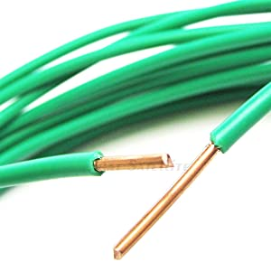 PHAT SATELLITE INTL - Solid Pure Copper Grounding Cable, 12 AWG Core, THW PVC Jacket, Wet Dry Indoor Outdoor Aerial Usage, Appliance Ground Protection from Electrical Surge (15 feet, Green)