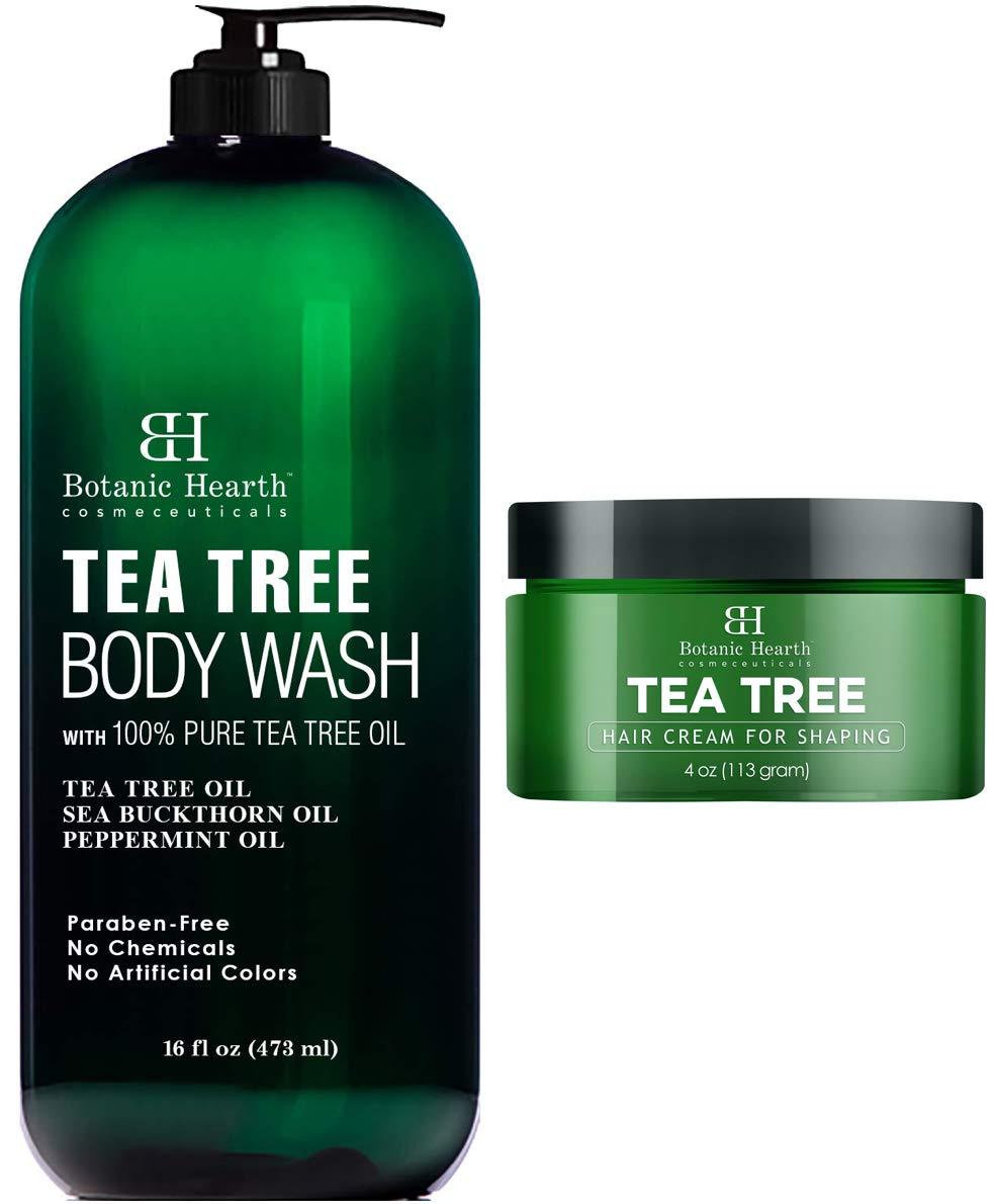 Botanic Hearth Tea Tree Body Wash (16 oz) and Tea Tree Hair Shaping Cream (4 oz) Bundle