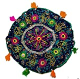 Indian 15'' Round Cotton Pouf Ottoman Stool Ethnic Chair Decor Furniture Retro