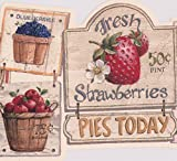 fruit border sticker - Vintage Fruits Vegetables Signs White Wallpaper Border Retro Design, Roll 15' x 9''