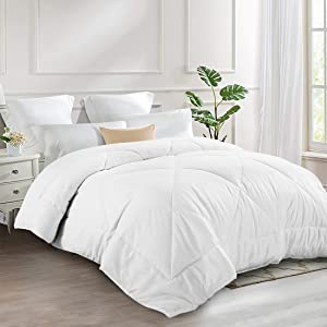 INGALIK All-Season Bed Comforter Best Soft Down Alternative Quilted Comforter - Summer Cooling - Machine Washable (White, Twin/Twin XL 64 x 88 inches)