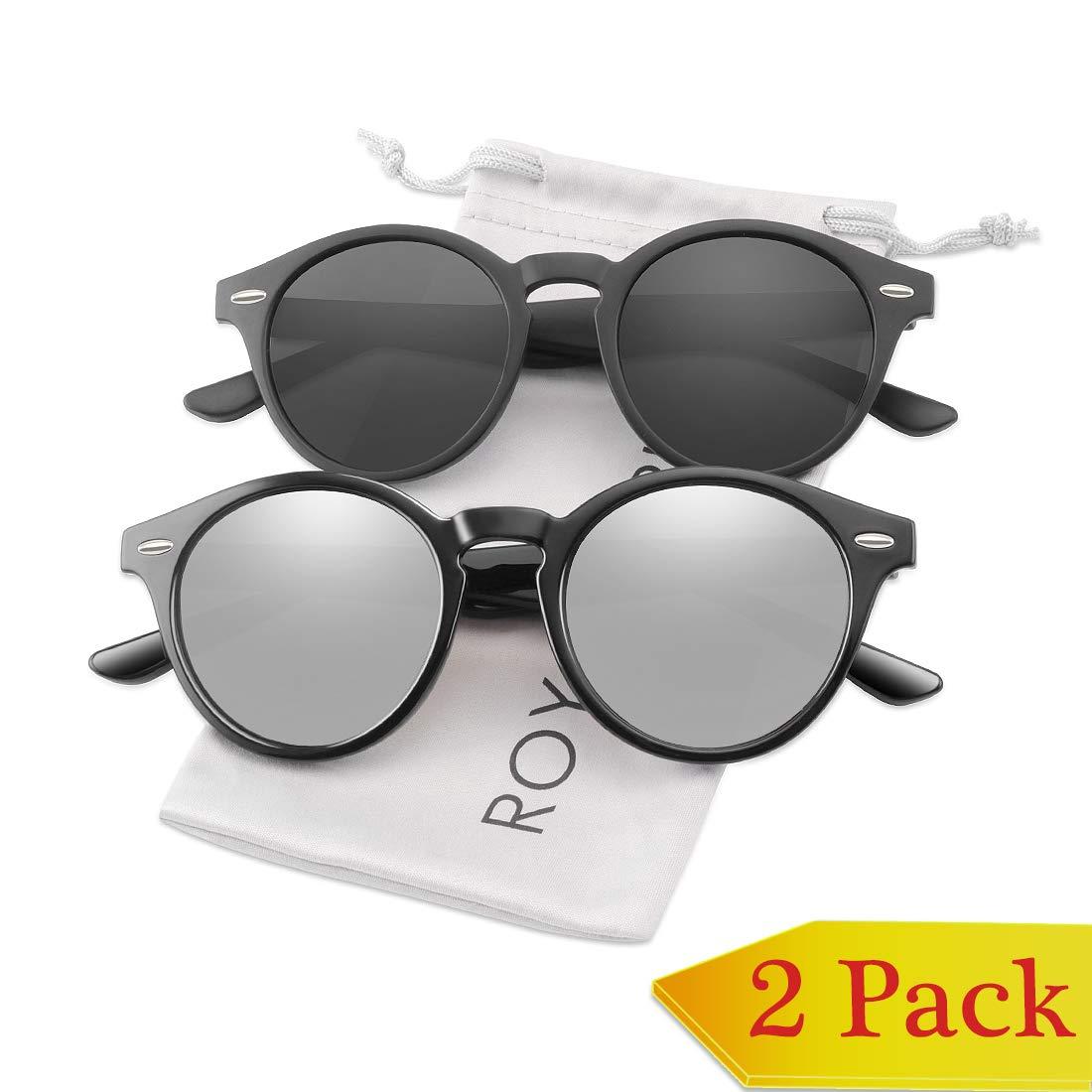 2 Pack Black Lens + Silver Mirrored Lens ROYAL GIRL Classic Round Retro Sunglasses For Women polarized Vintage Designer Style