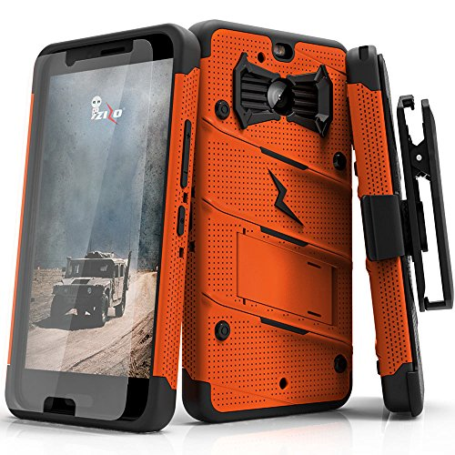 Orange Bolt - Zizo Bolt Series Compatible with HTC Bolt with [Screen Protector] Kickstand [Military Grade Drop Tested] Holster Belt Clip (Orange/Black)
