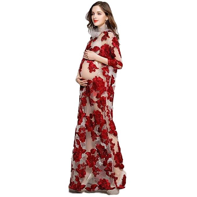 010ce6ce5 NT Vestidos Largos de Maternidad para fotografía de Encaje Embarazada  Vestidos de Fiesta de Boda Vestidos