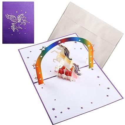 NACTECH Pop Up Tarjeta de Unicornio Tarjeta De Cumpleaños Fiesta Unicornio Felicitación 3D Cards para Niño Bautismo Cumpleaños Baby Shower con Sobre