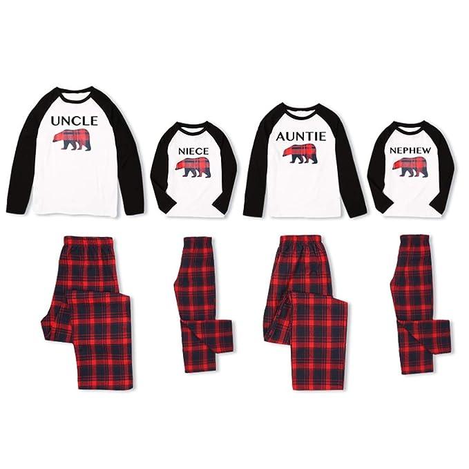 8297aa5f8 PatPat Matching Family Holiday Pajamas Set Bear Letter Printed Pjs ...