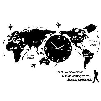 Jueven Mapamundi Reloj de Pared Reloj Sala de Estar Minimalista Moderno Europeo Negro Reloj Luminoso Gigante Reloj Mudo Silencio Mesa Colgante Personalizada ...