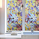 Jpettie Stained Glass Window Film Decorative Privacy Film European Style Privacy Window Film Static Cling Window Film Non Adhesive Privacy Film for Home Living Room Kitchen Bathroom 17.7x78.7 Inches