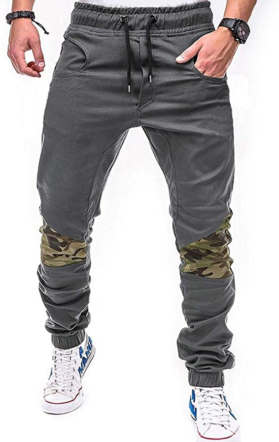 JiaMeng Hommes Pantalon Vetement Patchwork