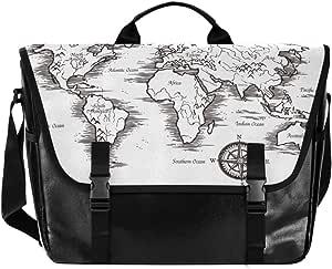 Rustic Compass Screen Printed Messenger Bag 2 Colors Available Messenger Bag
