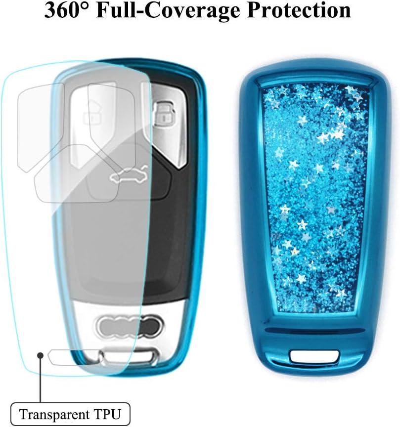 Senauto Sparkly Quicksand Key Fob Cover Case Keychain for Audi A3 A4 A6 TT Q5 Q7 S5 SQ5 R8 Blue