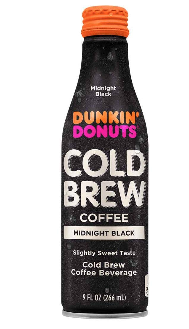 Dunkin' Donuts Cold Brew Coffee Beverage, 9 fl oz Aluminum Bottle (Pack of 12) (Midnight Black) by Dunkin