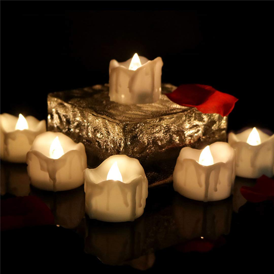 Allcute 12pcs Wax-drip Warm White Tea Light with Timer Flameless Led Candle Battery Operated Tealights for Candles Holders Wall Sconces Décor