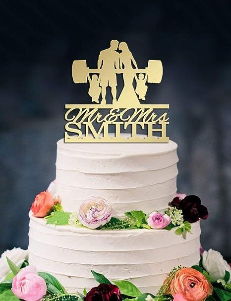 Adorno para tartas de boda, levantamiento de pesas y novia ...