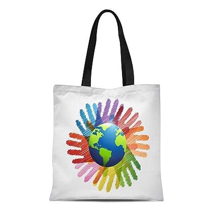 4cb78b908a65 Amazon.com: Semtomn Cotton Canvas Tote Bag Blue Responsibility Hands ...