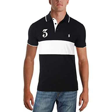 b6869102 RALPH LAUREN Polo Striped 1/3 Button Up Tee (Large, Polo Black) at ...