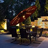 9' LED Solar Market Umbrella with Sunbrella Fabric RED
