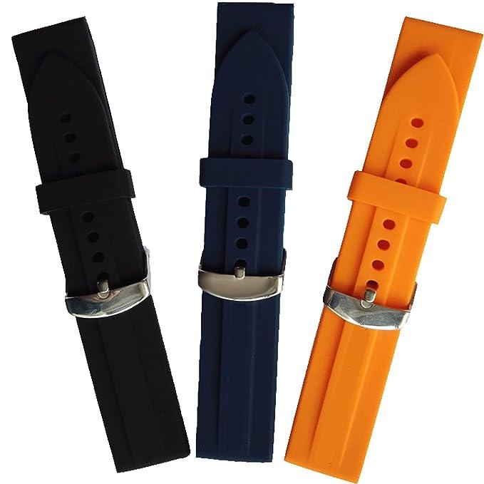 b931e9f52e7b Nuevo 23 mm negro de silicona banda de goma correa Fit Emporio Armani Reloj  ar0593 AR0595  Amazon.es  Relojes