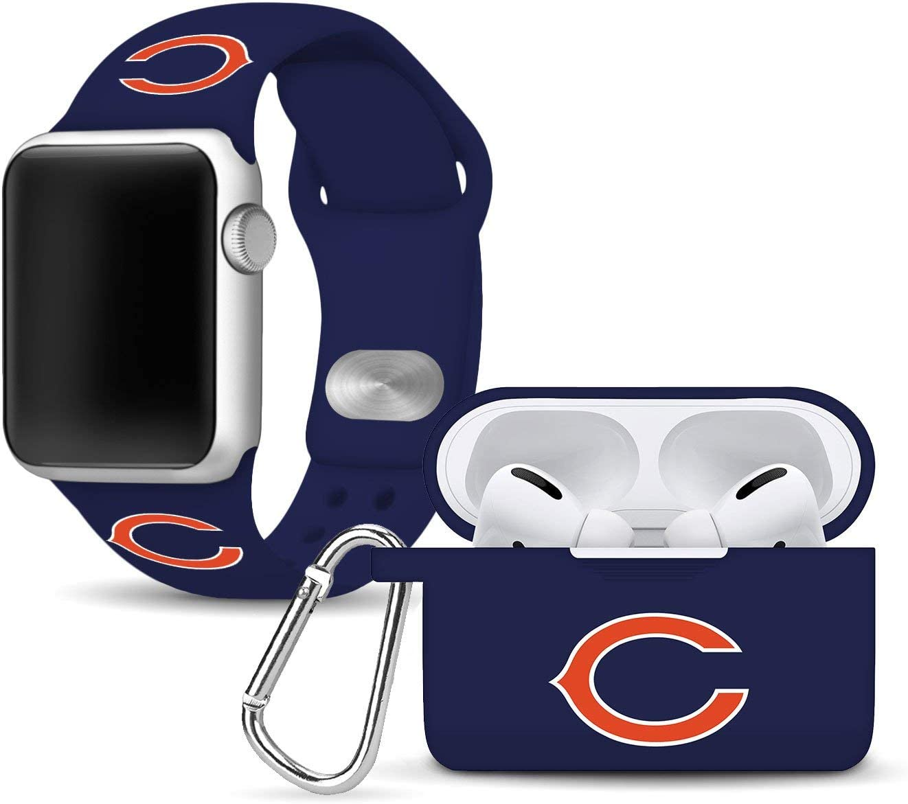 GAME TIME Chicago Bears Silicone Watch Band and Case Cover Combo Package Compatible with Apple Watch and AirPods Pro Battery Case (42/44mm - Navy/Navy)