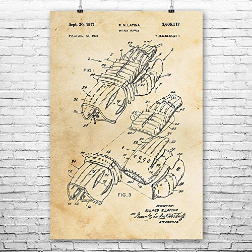 Hockey Gloves Poster Print, NHL Player, Coach Gifts, Ice Sports, Stanley Cup, Presidents Trophy, Goalie Equipment Vintage Paper (5