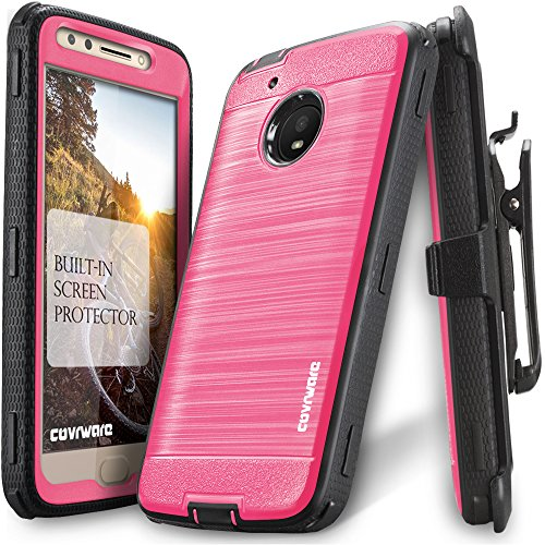 Moto E4 Plus Case, COVRWARE [Iron Tank] Built-in [Screen Protector] Heavy Duty Full-Body Holster Armor [Brushed Metal Texture] Case [Belt Clip][Kickstand] for Moto E Plus (4th Gen), Pink