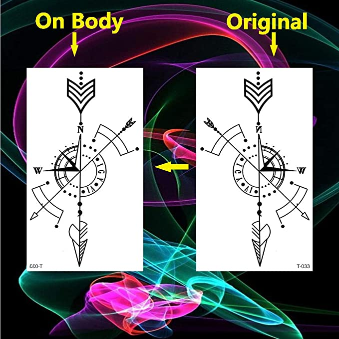 Tatuaje a prueba de agua Minimalista Brújula geométrica Tatuajes ...
