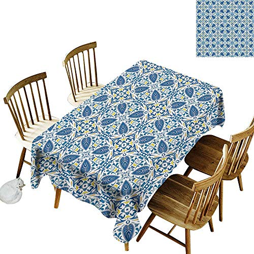 kangkaishi Yellow and Blue Elastic Edges fit The Rectangular Tablecloth Suitable for Most Home Decor Portuguese Traditional Tiles Abstract Mosaic Floral Swirl Motifs W14 x L72 Inch Blue Orange Yellow