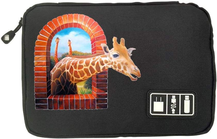 SD Memory Cards Cable Organizer Electronic Accessories Travel Bag Funny Giraffe USB Flash Drive Case Bag Wallet