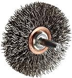 Weiler Narrow Face Wire Wheel Conflex Brush, Round Shank, Steel, Crimped Wire, 2-1/2'' Diameter, 0.014'' Wire Diameter, 1/4'' Shank, 3/4'' Bristle Length, 3/8'' Brush Face Width, 20000 rpm