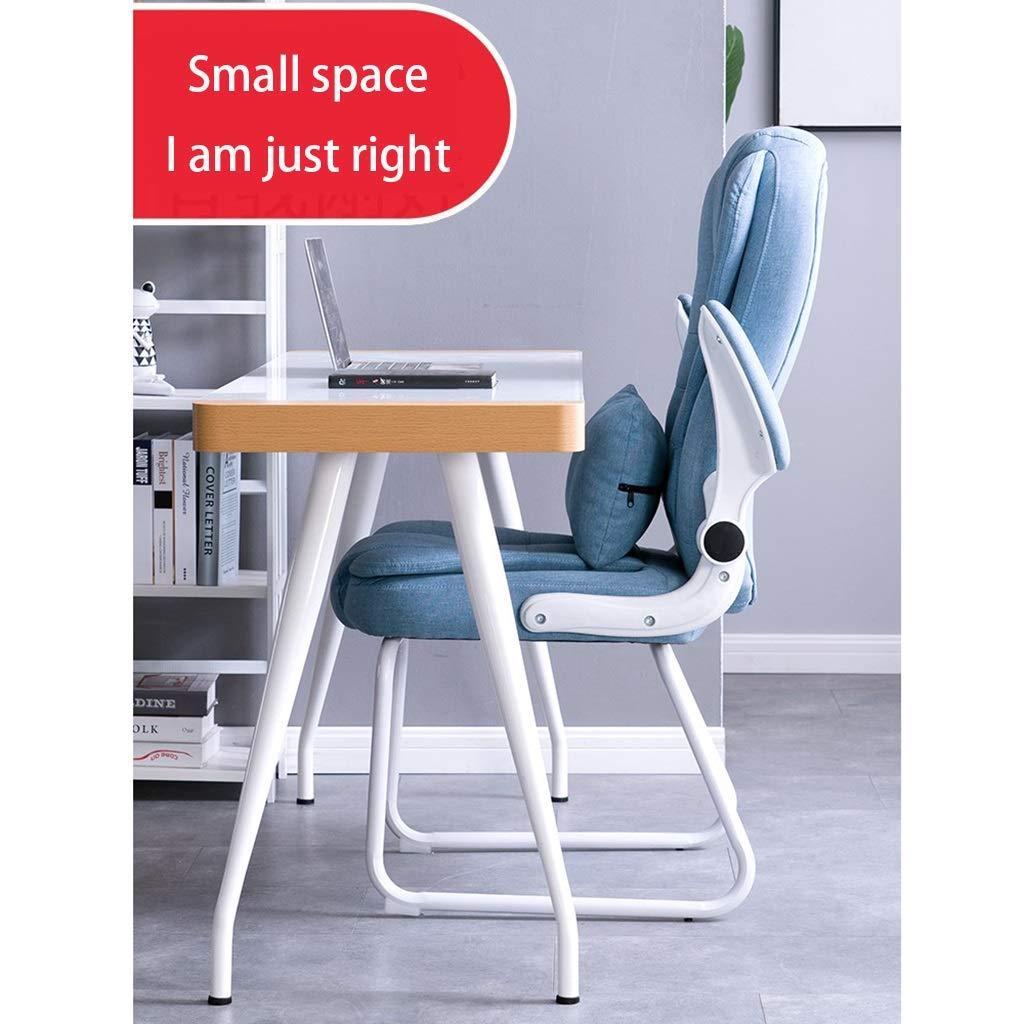 Zhou-WD PU konferensstol, bekväm lätt att rengöra hem stol tjockare hållbar dator skrivbord och stol vikbar fåtölj kontorsmöbler (färg: Brun) Vitt