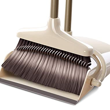 Dust Pan and Broom/Dustpan Cleans Broom Combo with 36  Long Handle For Home Kitchen Room Office Lobby Floor Use Upright Stand up Dustpan Broom Set