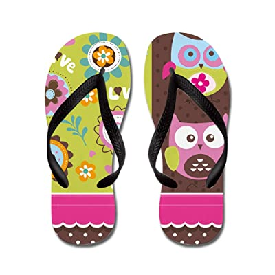 Lplpol Floral Owl Pattern Flip Flops for Kids and Adult Unisex Beach Sandals Pool Shoes Party Slippers