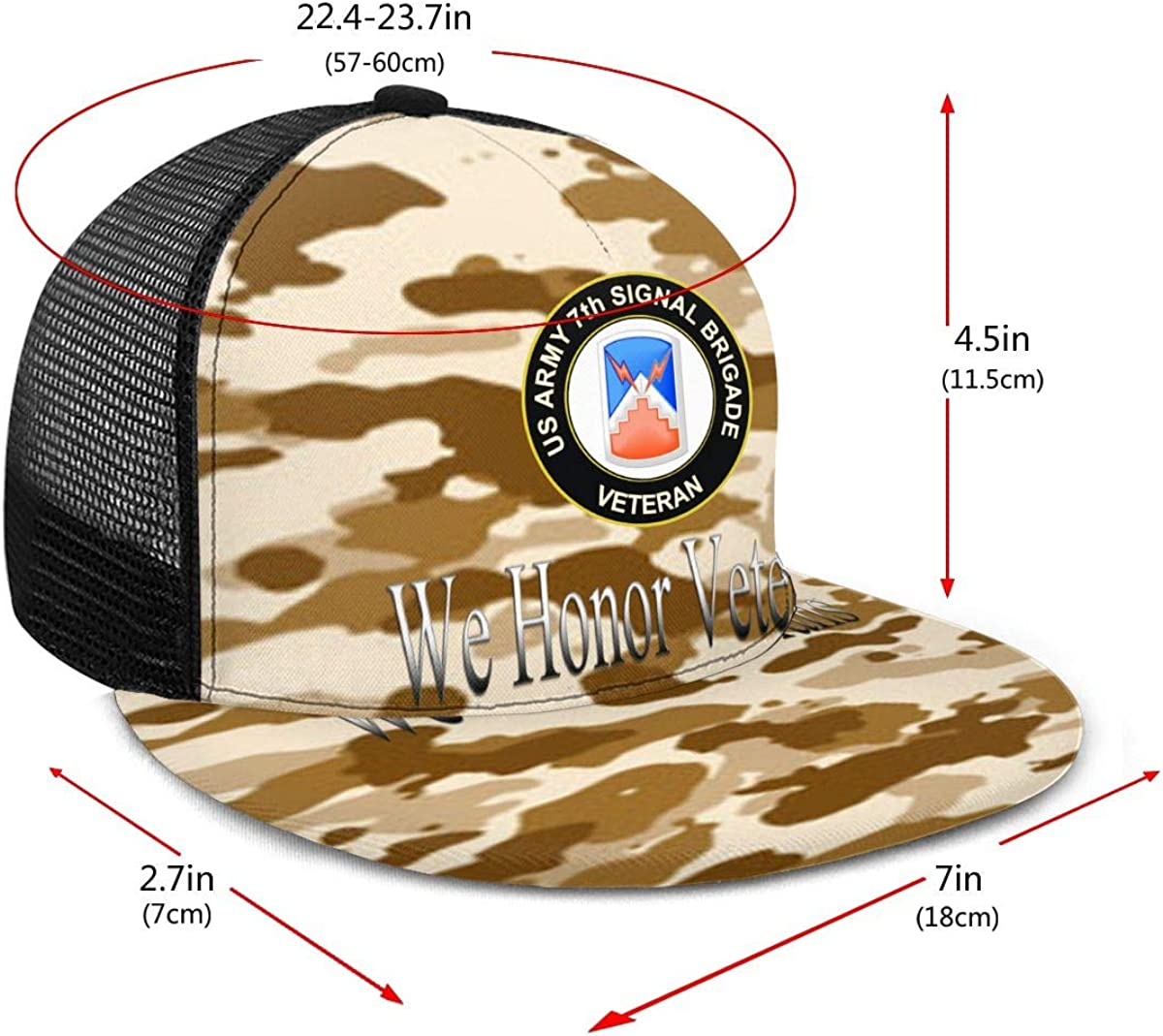 US Army 7th Signal Brigade Veteran Classic Grid Cap Flat Along Baseball Hat Snapback Men Women Hats Adjustable