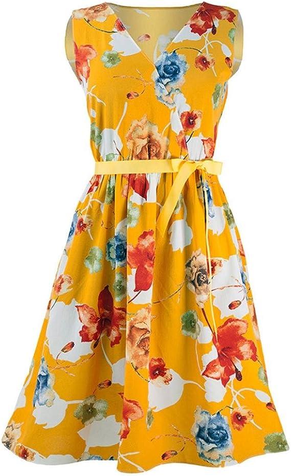 SANFASHION Bekleidung - Vestido - Trapecio o Corte en A - Sin Mangas - para Mujer Amarillo Medium: Amazon.es: Ropa y accesorios