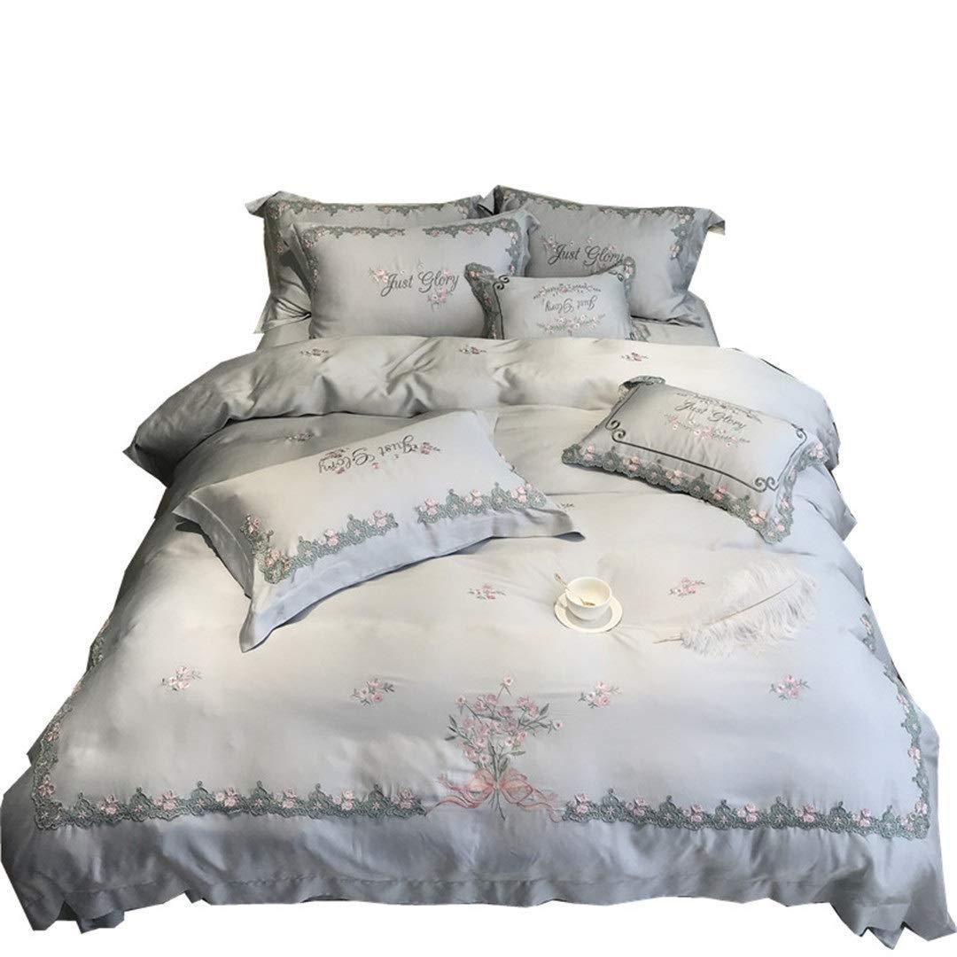 Shioya house 寝具テンセル5ピースグレー80Sオーストリアブルー絶妙なヨーロッパの光の高級家具刺繍絹のような寝具ホームテキスタイルバレンタインデー/誕生日/記念日最高の贈り物高精度サテン吸湿抗アレルギー抗菌消臭簡単にきれいにすべて耐久性シーズン ご愛顧ありがとうございました (Size : S)   B07QX4D48R