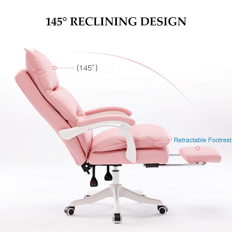 Högrygg PU-läder kontorsstol dator skrivbordsstol verkställande ergonomisk svängbar stol korsryggstöd, sitthöjd: 47-55 cm Rosa