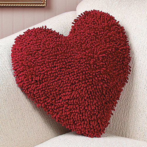 KNLSTORE Red Heart Chenille Toss Pillow Romantic Home Bedroom Sofa Chair Soft Cuddle Plush Cushion V-day Decor Accent Valentine's Day Gift Decoration (V Day Valentine)