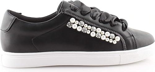 Sneakers Donna Basse Lacci Raso Nere Beige con Perle Borchie