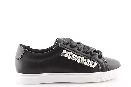 damalu Sneakers Donna Basse Lacci Raso Nere Beige con Perle Borchie Scarpe  Gold Gold  Amazon.it  Scarpe e borse b783d0d81ea