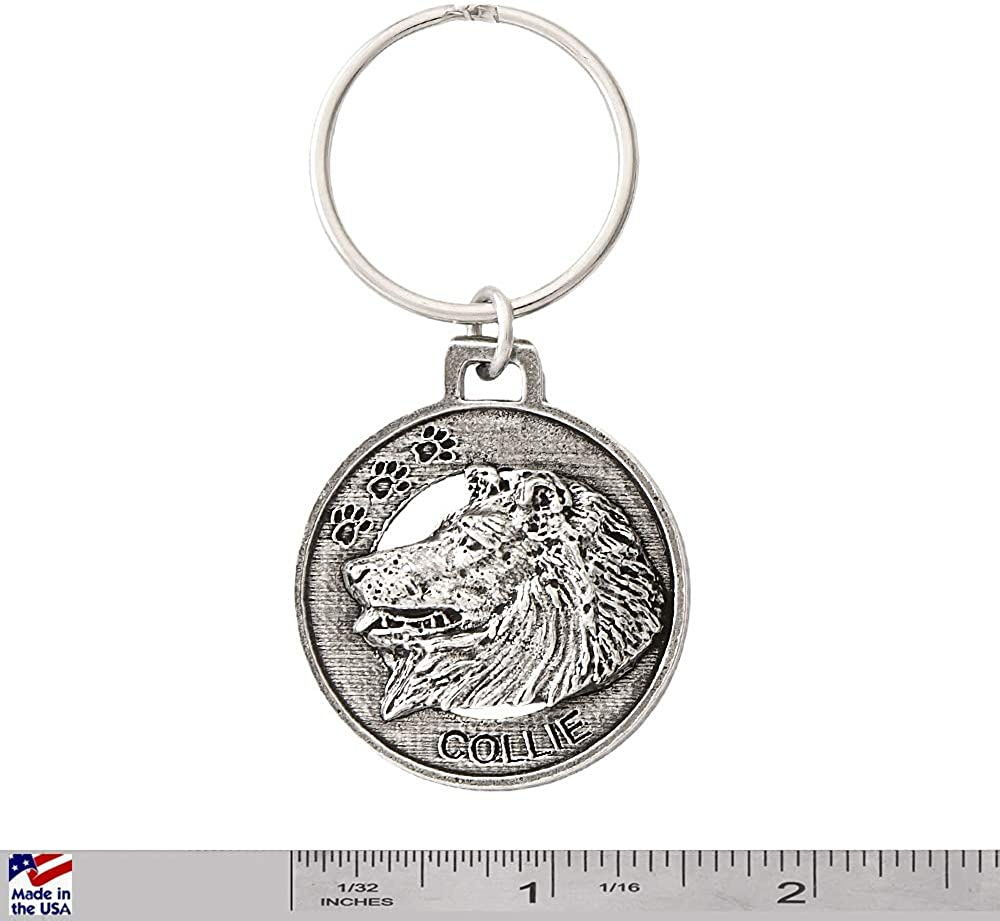 D058KC Collie Dog Pewter Key Chain Key Fob Key Ring Gift