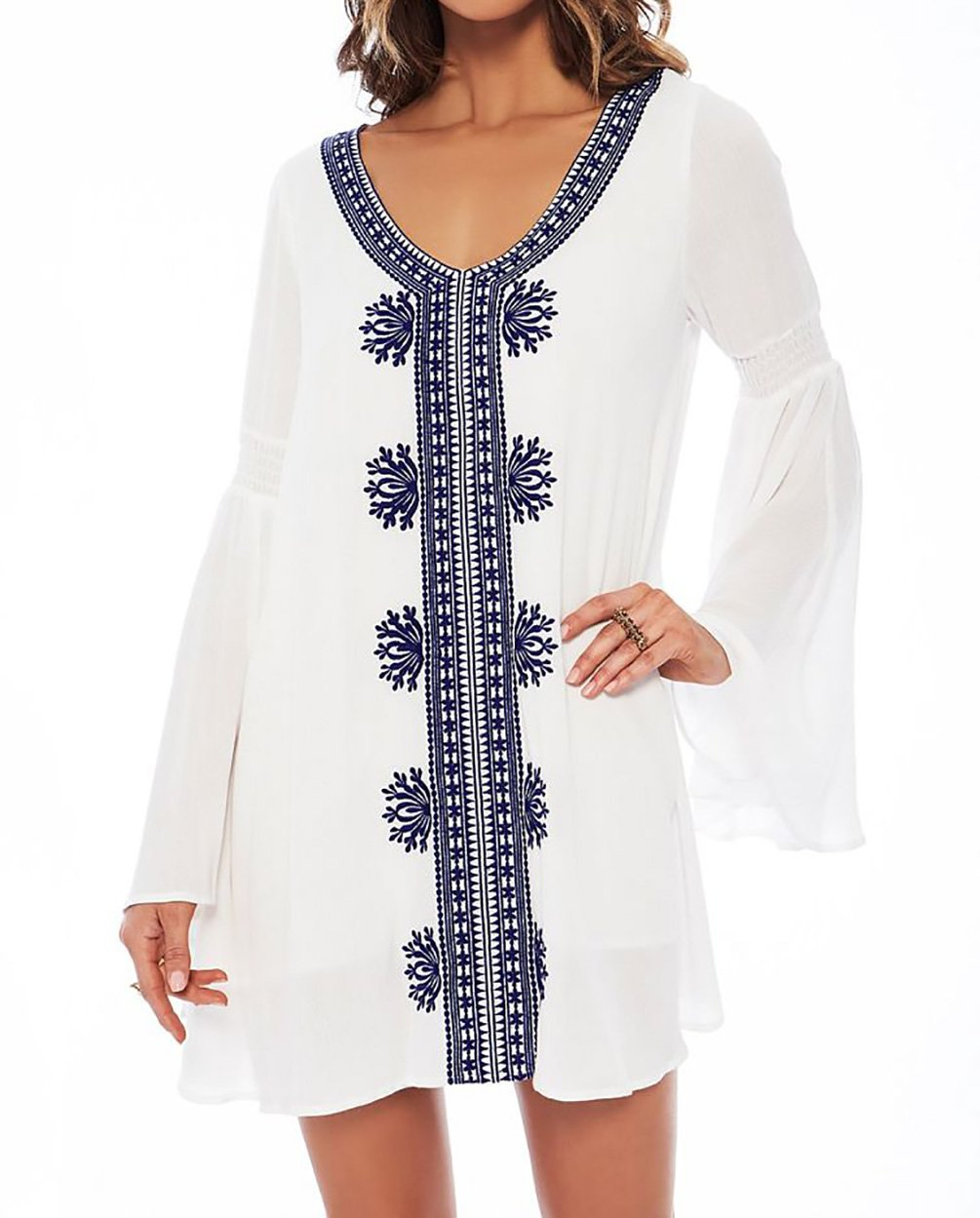 Bestyou Women's Embroideried Swimsuit Cover up Tunic Shirts Beachwear  (White F)