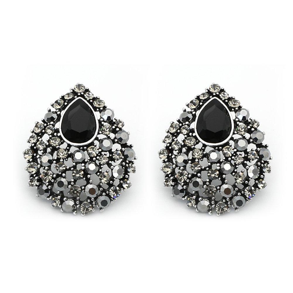 Rugewelry Cubic Zirconia Teardrop Stud Earrings Black Earrings For Women,Girls' Gifts