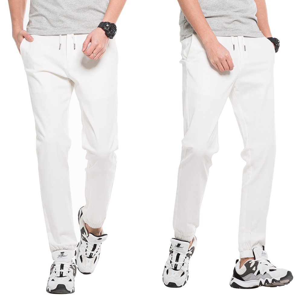 INFLATION Men's Stretchy Casual Jogger Pants  Blend Combed Cotton Formal Elastic Waist Trousers Dress Pants White US SIZE L by INFLATION (Image #5)