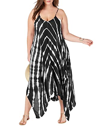 1351c7146b Womens Swimsuit Cover up Plus Size Beach Dress Tie Dye Maxi Coverups  Bathing Suits Swimwear Black