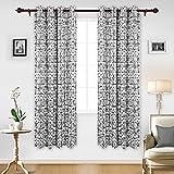 thermal curtains 84 pattern - Deconovo Elegant Abstract Pattern Curtains Grommet Top Thermal Insulated Blackout Curtains 84 Length 52 Inch Black 2 Panels