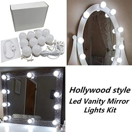 Hollywood Style LED Vanity Makeup Mirror Lights Kit with 10 Dimmable ...